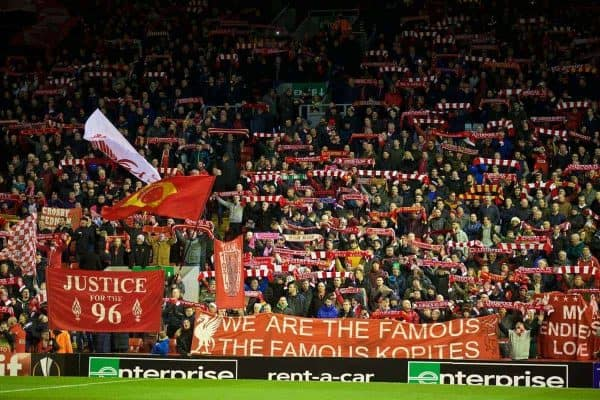 LIVERPOOL, ENGLAND - Thursday, February 25, 2016: Liverpool supporters on the Spion Kop before the UEFA Europa League Round of 32 1st Leg match against FC Augsburg at Anfield. (Pic by David Rawcliffe/Propaganda)