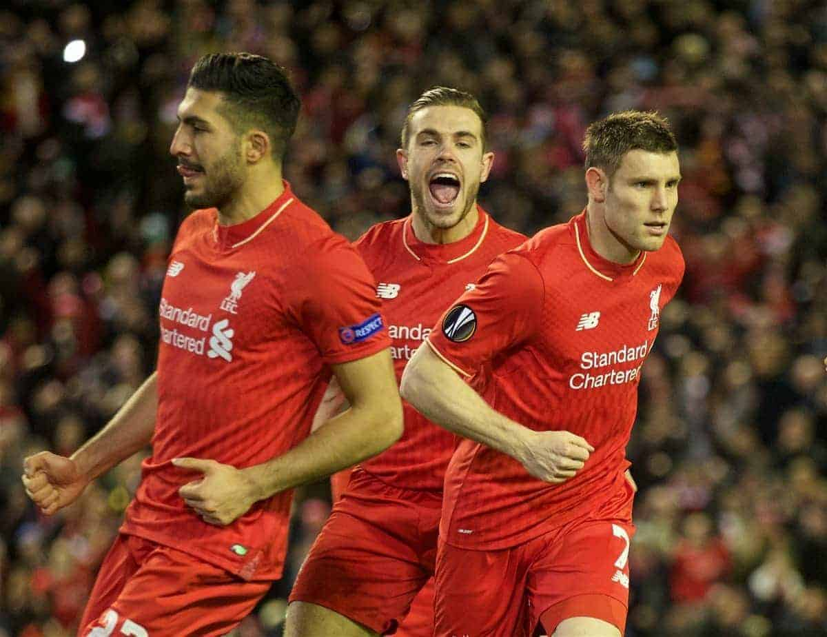 LIVERPOOL, ENGLAND - Thursday, February 25, 2016: Liverpool's James Milner celebrates scoring the first goal against FC Augsburg from the penalty kick during the UEFA Europa League Round of 32 1st Leg match at Anfield. (Pic by David Rawcliffe/Propaganda)