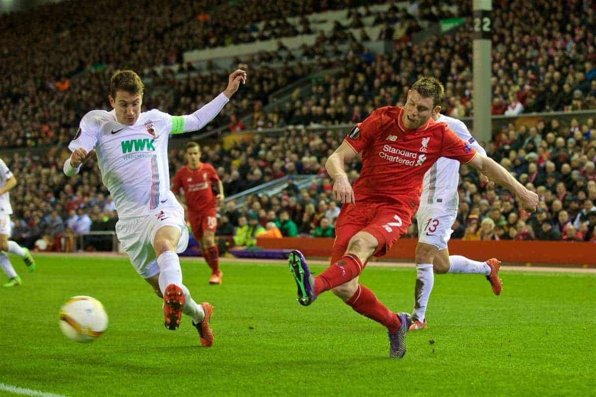 LIVERPOOL, ENGLAND - Thursday, February 25, 2016: Liverpool's James Milner in action against FC Augsburg during the UEFA Europa League Round of 32 1st Leg match at Anfield. (Pic by David Rawcliffe/Propaganda)