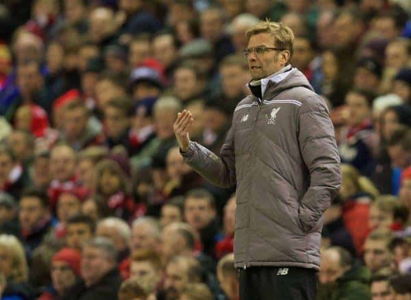 LIVERPOOL, ENGLAND - Thursday, February 25, 2016: Liverpool's manager Jürgen Klopp during the UEFA Europa League Round of 32 1st Leg match against FC Augsburg at Anfield. (Pic by David Rawcliffe/Propaganda)