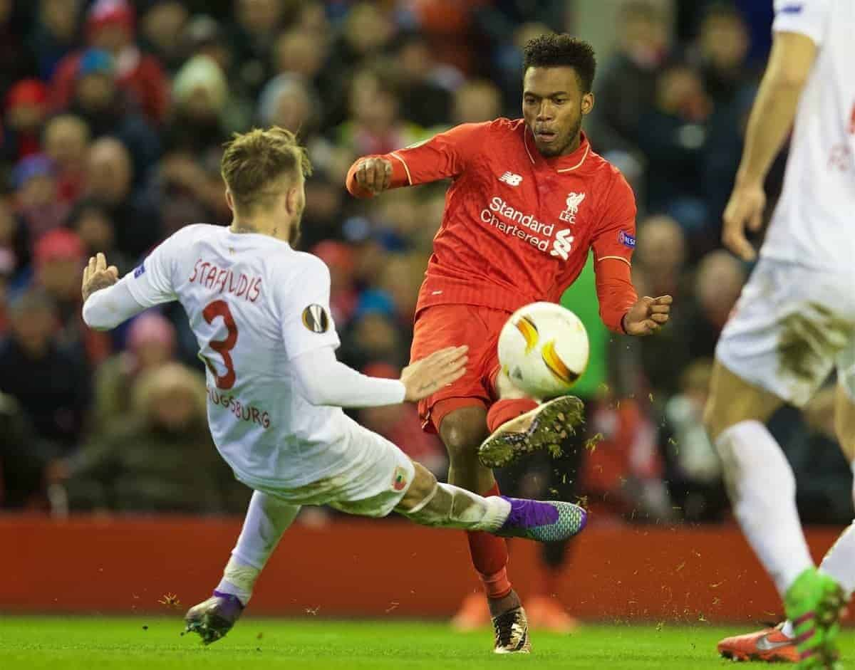 LIVERPOOL, ENGLAND - Thursday, February 25, 2016: Liverpool's Daniel Sturridge in action against FC Augsburg during the UEFA Europa League Round of 32 1st Leg match at Anfield. (Pic by David Rawcliffe/Propaganda)