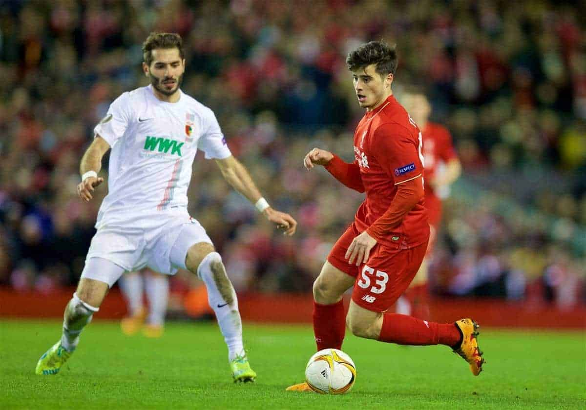 LIVERPOOL, ENGLAND - Thursday, February 25, 2016: Liverpool's Joao Carlos Teixeira in action against FC Augsburg during the UEFA Europa League Round of 32 1st Leg match at Anfield. (Pic by David Rawcliffe/Propaganda)