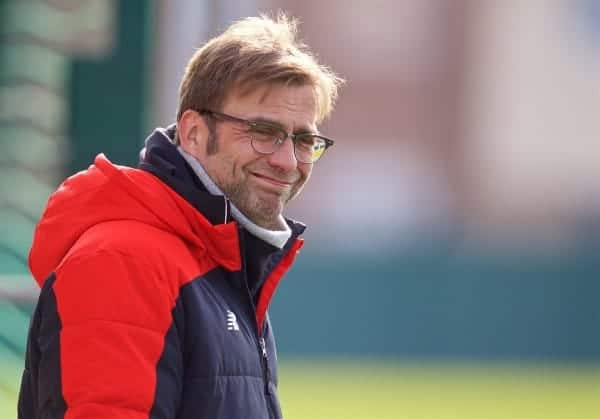 LIVERPOOL, ENGLAND - Friday, February 26, 2016: Liverpool's manager Jürgen Klopp during a training session at Melwood Training Ground ahead of the Football League Cup Final against Manchester City. (Pic by David Rawcliffe/Propaganda)