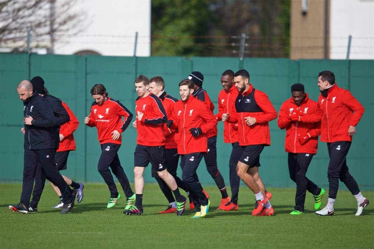 LIVERPOOL, ENGLAND - Friday, February 26, 2016: Liverpool's Jon Flanagan, Adam Lallana and Steven Caulker during a training session at Melwood Training Ground ahead of the Football League Cup Final against Manchester City. (Pic by David Rawcliffe/Propaganda)