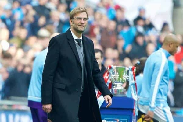 LONDON, ENGLAND - Sunday, February 28, 2016: Liverpool's manager Jürgen Klopp walks out before the Football League Cup Final match against Manchester City at Wembley Stadium. (Pic by David Rawcliffe/Propaganda)