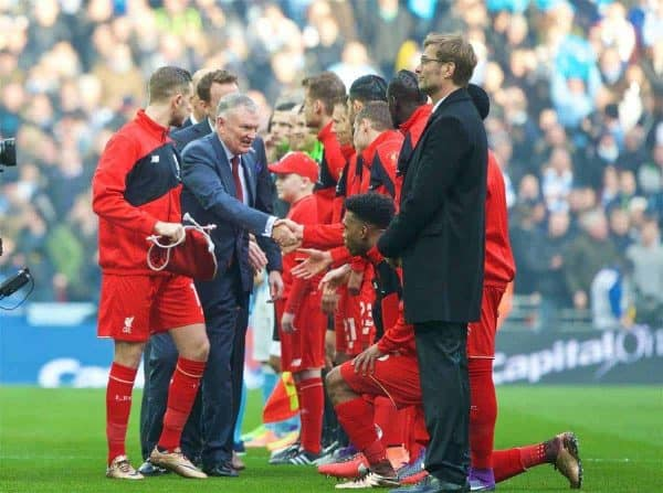 LONDON, ENGLAND - Sunday, February 28, 2016: Liverpool's captain Jordan Henderson introduces the dignitaries to his team before the Football League Cup Final match against Manchester City at Wembley Stadium. (Pic by David Rawcliffe/Propaganda)