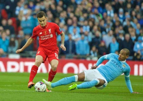 LONDON, ENGLAND - Sunday, February 28, 2016: Liverpool's Philippe Coutinho Correia in action against Manchester City's Fernando Francisco Reges during the Football League Cup Final match at Wembley Stadium. (Pic by David Rawcliffe/Propaganda)
