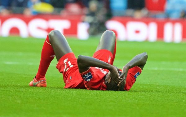 LONDON, ENGLAND - Sunday, February 28, 2016: Liverpool's injured Mamadou Sakho against Manchester City during the Football League Cup Final match at Wembley Stadium. (Pic by David Rawcliffe/Propaganda)