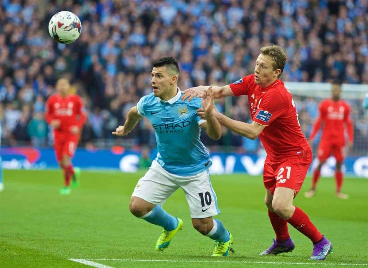 LONDON, ENGLAND - Sunday, February 28, 2016: Liverpool's Lucas Leiva in action against Manchester City's Sergio Aguero during the Football League Cup Final match at Wembley Stadium. (Pic by David Rawcliffe/Propaganda)