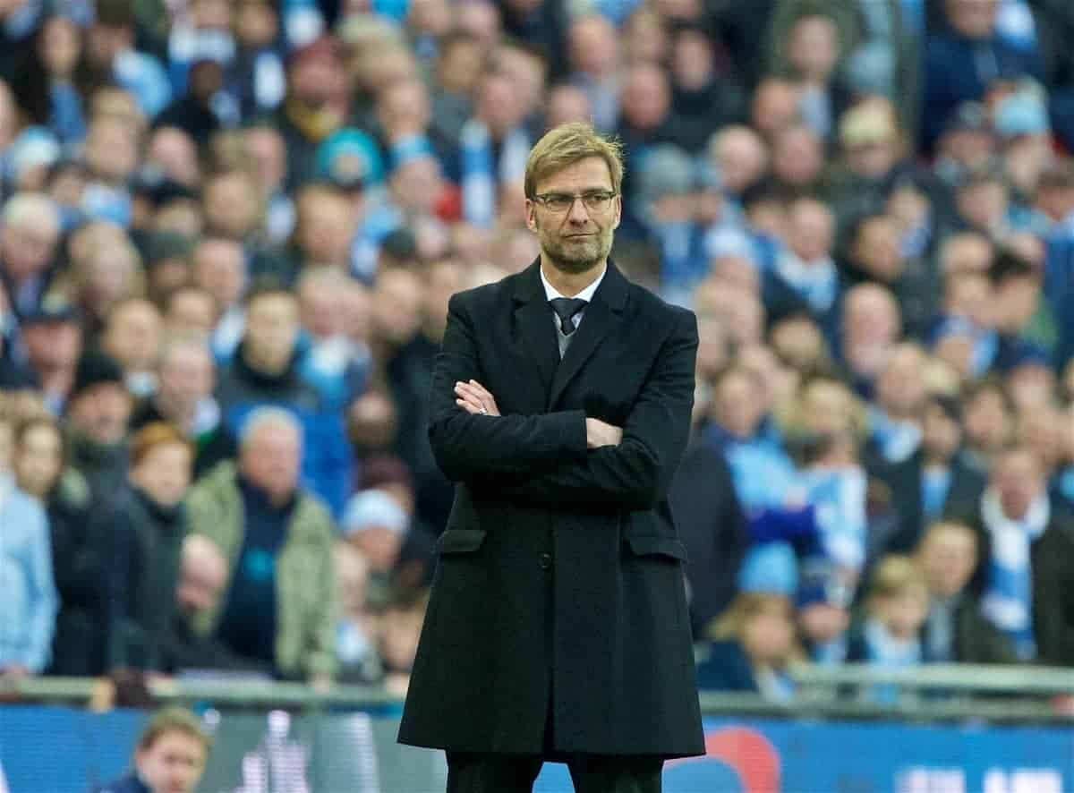 LONDON, ENGLAND - Sunday, February 28, 2016: Liverpool's manager Jürgen Klopp during the Football League Cup Final match against Manchester City at Wembley Stadium. (Pic by David Rawcliffe/Propaganda)