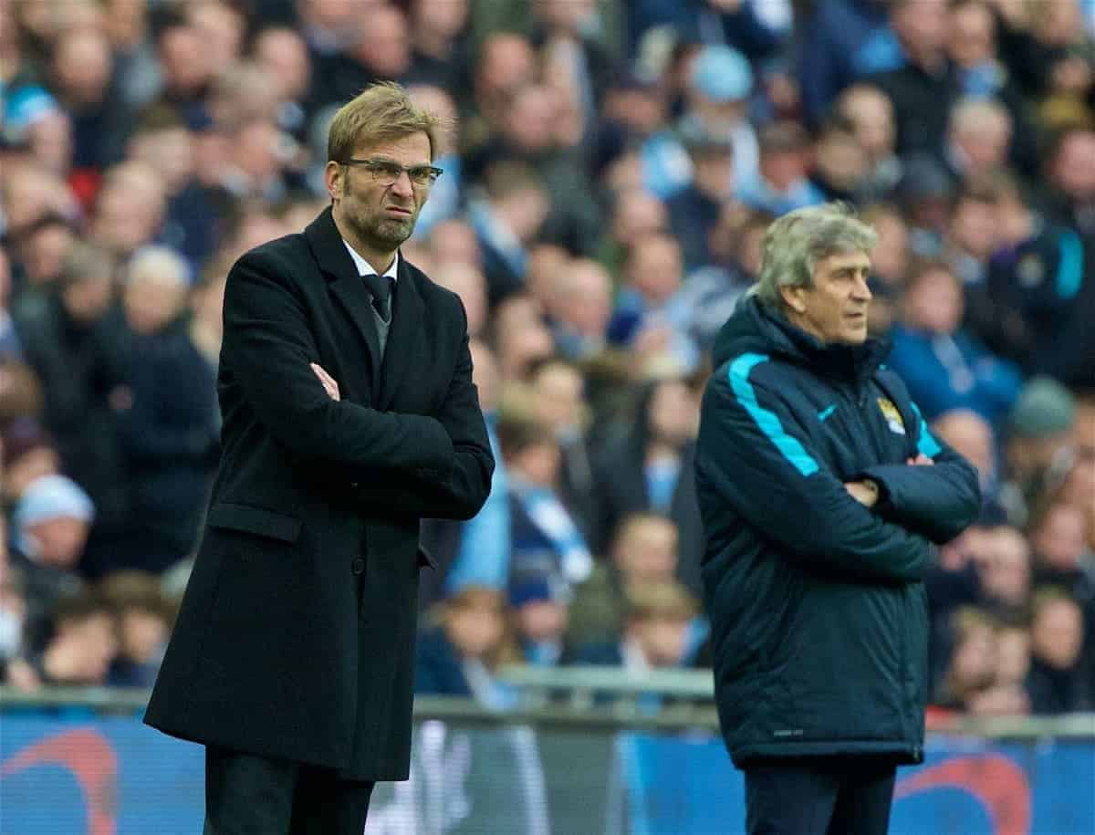 LONDON, ENGLAND - Sunday, February 28, 2016: Liverpool's manager Jürgen Klopp and Manchester City's manager Manuel Pellegrini during the Football League Cup Final match at Wembley Stadium. (Pic by David Rawcliffe/Propaganda)