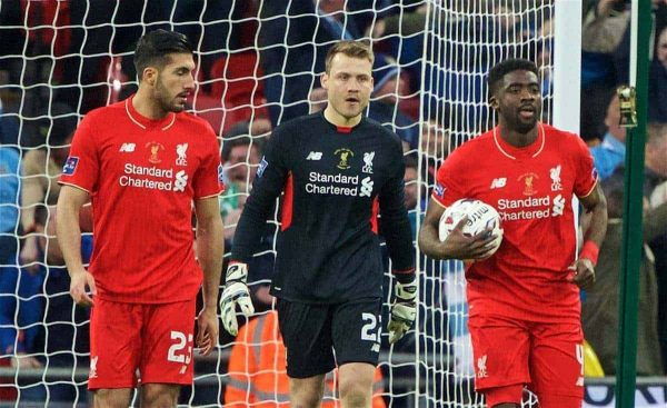LONDON, ENGLAND - Sunday, February 28, 2016: Liverpool's goalkeeper Simon Mignolet looks dejected as Manchester City score the opening goal during the Football League Cup Final match at Wembley Stadium. (Pic by David Rawcliffe/Propaganda)