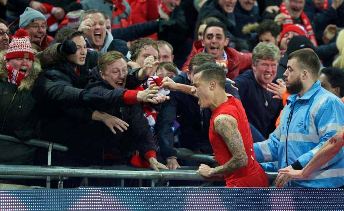 LONDON, ENGLAND - Sunday, February 28, 2016: Liverpool's Philippe Coutinho Correia celebrates scoring the first goal against Manchester City during the Football League Cup Final match at Wembley Stadium. (Pic by David Rawcliffe/Propaganda)