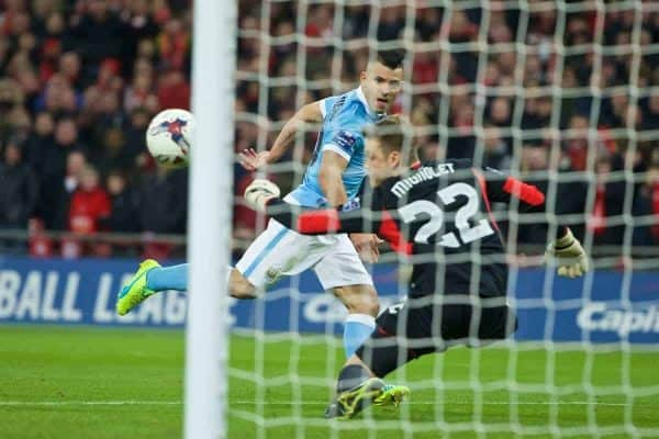 LONDON, ENGLAND - Sunday, February 28, 2016: Manchester City's Sergio Aguero sees his shot saved by Liverpool's goalkeeper Simon Mignolet during the Football League Cup Final match at Wembley Stadium. (Pic by David Rawcliffe/Propaganda)