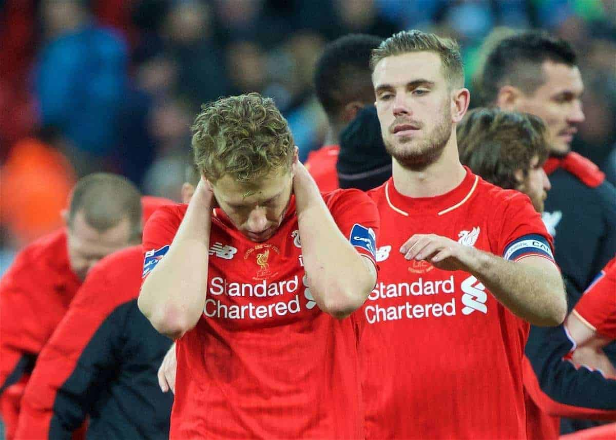 LONDON, ENGLAND - Sunday, February 28, 2016: Liverpool's Lucas Leiva looks dejected after losing in the penalty shoot-out to Manchester City during the Football League Cup Final match at Wembley Stadium. (Pic by David Rawcliffe/Propaganda)
