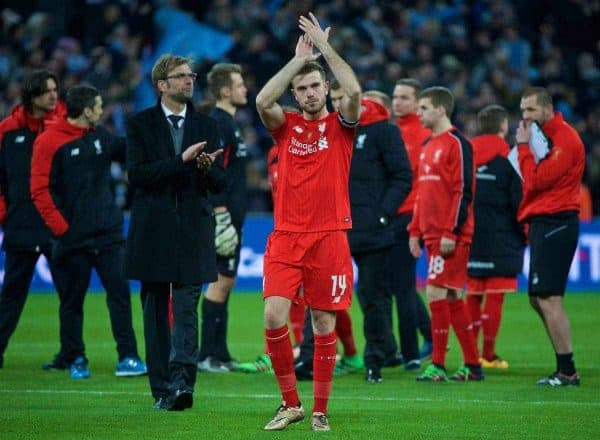 LONDON, ENGLAND - Sunday, February 28, 2016: Liverpool's captain Jordan Henderson looks dejected after losing on penalties against Manchester City during the Football League Cup Final match at Wembley Stadium. (Pic by David Rawcliffe/Propaganda)