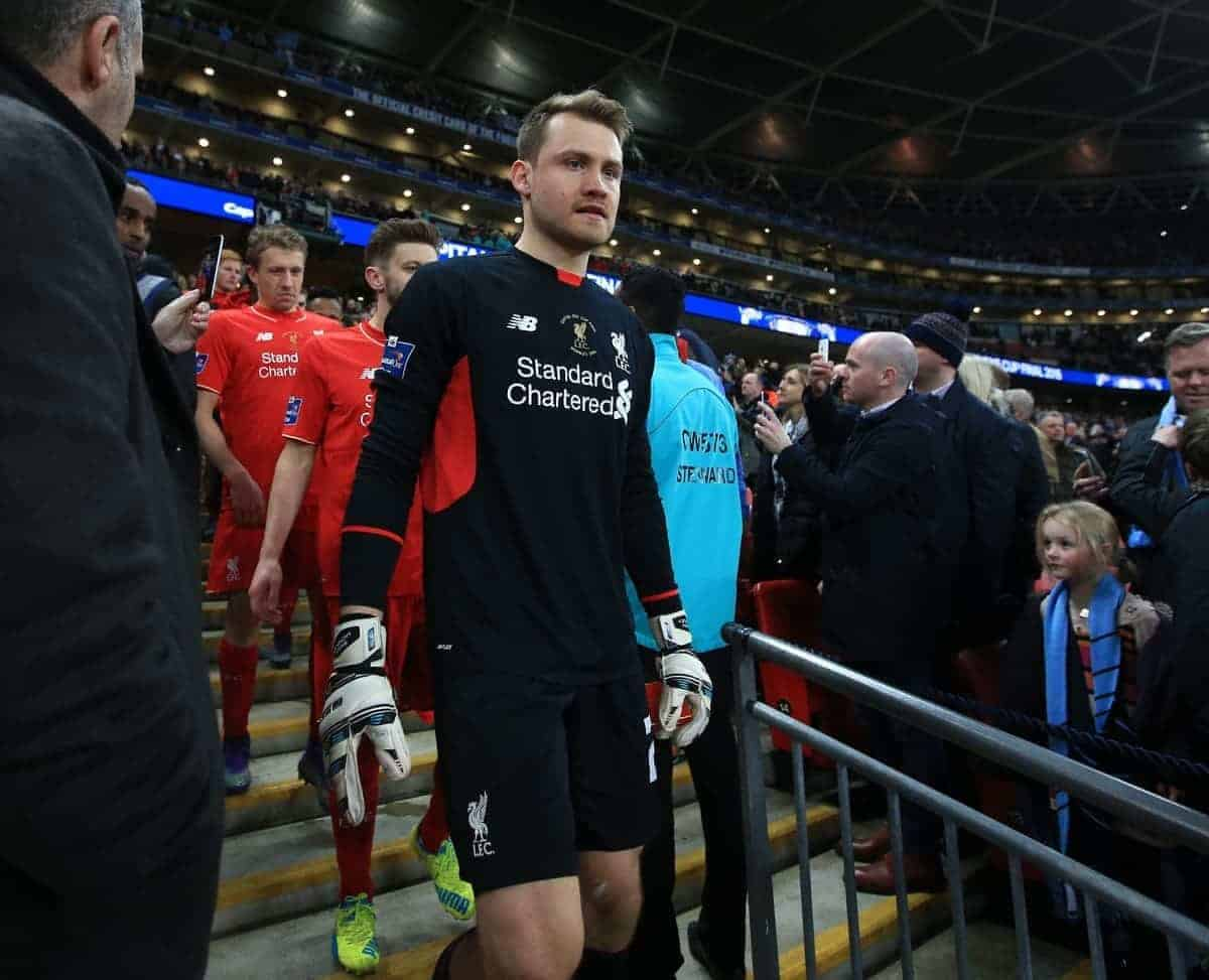 LONDON, ENGLAND - Sunday, February 28, 2016: Liverpool's goalkeeper Simon Mignolet looks dejected after picking up his runners-up medal after losing on penalties to Manchester City during the Football League Cup Final match at Wembley Stadium. (Pic by John Walton/Pool/Propaganda)