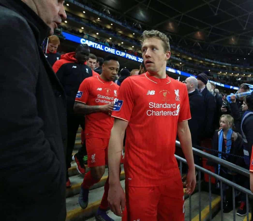 LONDON, ENGLAND - Sunday, February 28, 2016: Liverpool's Lucas Leiva looks dejected after picking up his runners-up medal after losing on penalties to Manchester City during the Football League Cup Final match at Wembley Stadium. (Pic by John Walton/Pool/Propaganda)