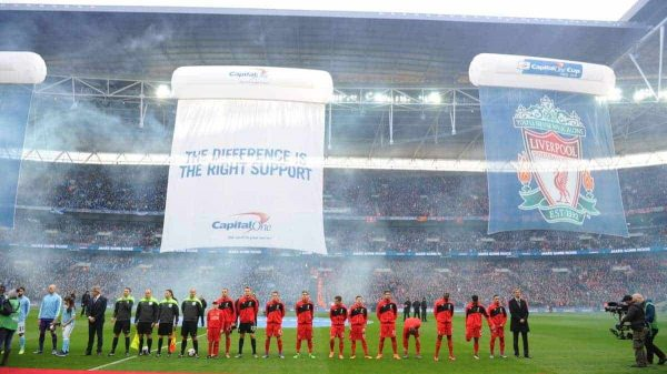 LONDON, ENGLAND - Sunday, February 28, 2016: Liverpool players before the Football League Cup Final match against Manchester City at Wembley Stadium. (Pic by Jason Roberts/Pool/Propaganda)