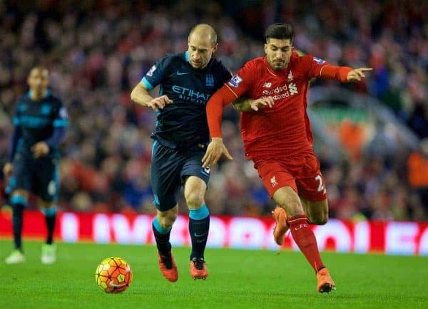 LIVERPOOL, ENGLAND - Wednesday, March 2, 2016: Liverpool's Emre Can in action against Manchester City's Pablo Zabaleta during the Premier League match at Anfield. (Pic by David Rawcliffe/Propaganda)