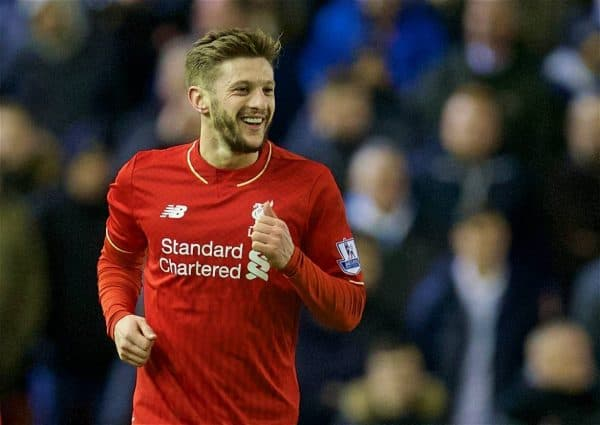 LIVERPOOL, ENGLAND - Wednesday, March 2, 2016: Liverpool's Adam Lallana scelebrates scoring the first goal against Manchester City during the Premier League match at Anfield. (Pic by David Rawcliffe/Propaganda)
