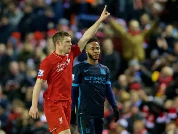 LIVERPOOL, ENGLAND - Wednesday, March 2, 2016: Liverpool's James Milner celebrates scoring the second goal against Manchester City as Raheem Sterling looks on during the Premier League match at Anfield. (Pic by David Rawcliffe/Propaganda)