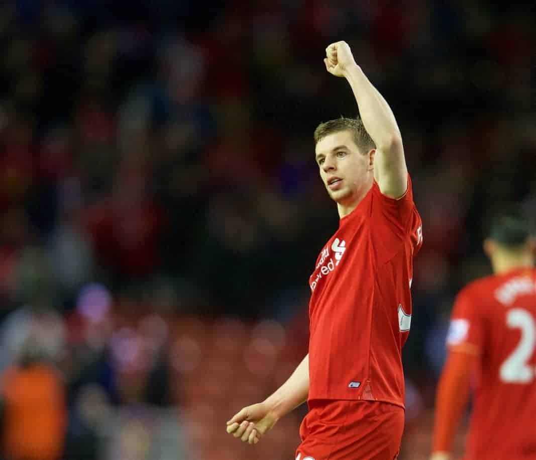 LIVERPOOL, ENGLAND - Wednesday, March 2, 2016: Liverpool's Jon Flanagan celebrates after the 3-0 victory over Manchester City during the Premier League match at Anfield. (Pic by David Rawcliffe/Propaganda)