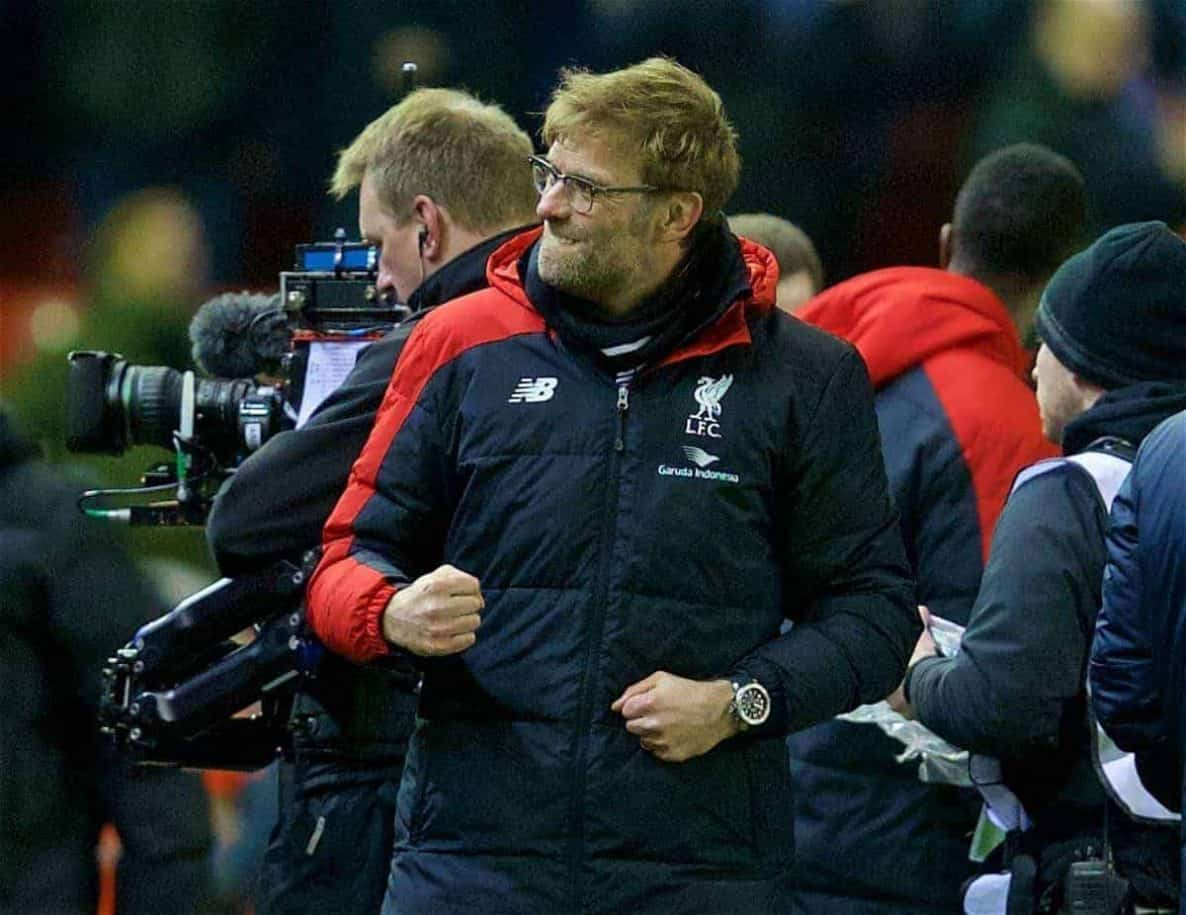LIVERPOOL, ENGLAND - Wednesday, March 2, 2016: Liverpool's manager Jürgen Klopp celebrates after the 3-0 victory over Manchester City during the Premier League match at Anfield. (Pic by David Rawcliffe/Propaganda)