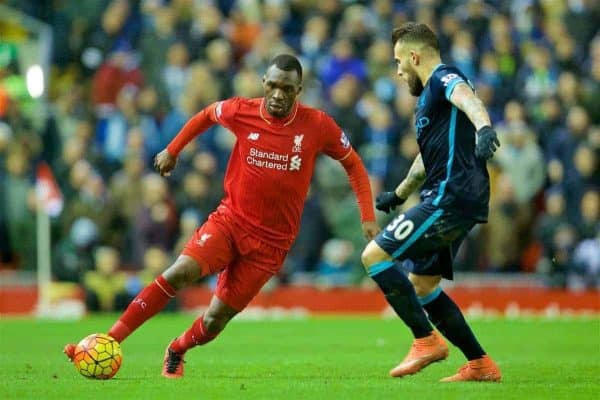 LIVERPOOL, ENGLAND - Wednesday, March 2, 2016: Liverpool's Christian Benteke in action against Manchester City during the Premier League match at Anfield. (Pic by David Rawcliffe/Propaganda)