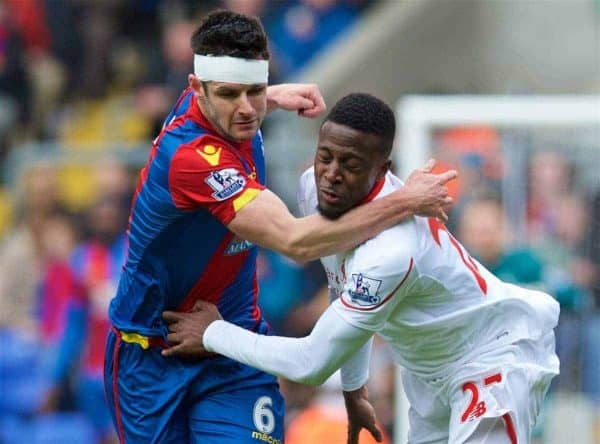 LONDON, ENGLAND - Sunday, March 6, 2016: Liverpool's Divock Origi in action against Crystal Palace's Scott Dann during the Premier League match at Selhurst Park. (Pic by David Rawcliffe/Propaganda)