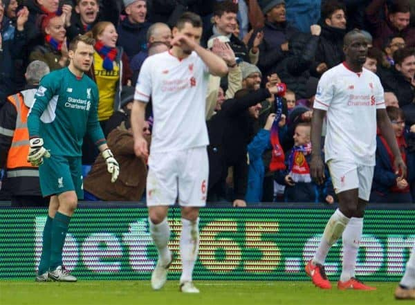 LONDON, ENGLAND - Sunday, March 6, 2016: Liverpool's goalkeeper Simon Mignolet looks dejected as Crystal Palace score the opening goal during the Premier League match at Selhurst Park. (Pic by David Rawcliffe/Propaganda)