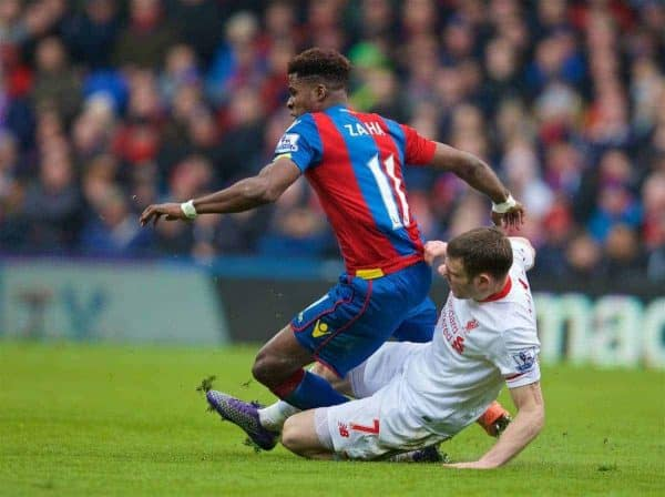 LONDON, ENGLAND - Sunday, March 6, 2016: Liverpool's James Milner is sent off for this challenge on Crystal Palace's Wilfried Zaha during the Premier League match at Selhurst Park. (Pic by David Rawcliffe/Propaganda)