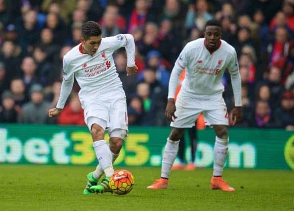 LONDON, ENGLAND - Sunday, March 6, 2016: Liverpool's Roberto Firmino scores the first goal against Crystal Palace during the Premier League match at Selhurst Park. (Pic by David Rawcliffe/Propaganda)