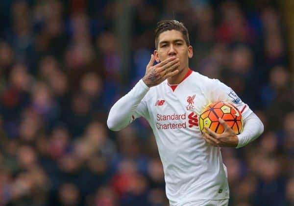 LONDON, ENGLAND - Sunday, March 6, 2016: Liverpool's Roberto Firmino celebrates scoring the first goal against Crystal Palace during the Premier League match at Selhurst Park. (Pic by David Rawcliffe/Propaganda)