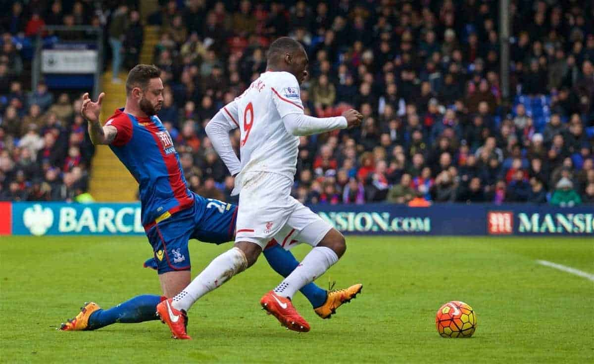 LONDON, ENGLAND - Sunday, March 6, 2016: Liverpool's Christian Benteke is brought down against Crystal Palace for an injury time penalty during the Premier League match at Selhurst Park. (Pic by David Rawcliffe/Propaganda)