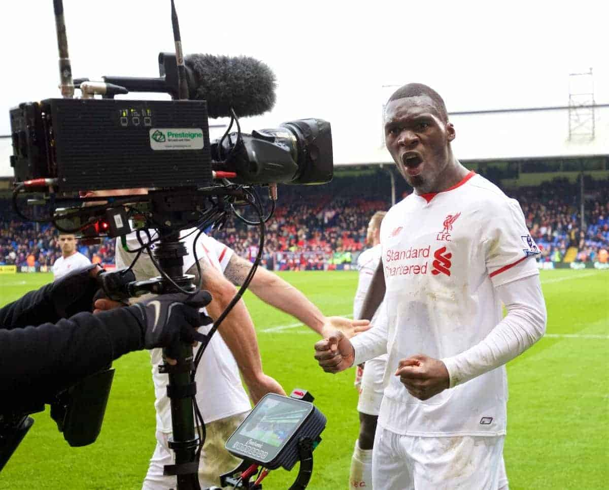 LONDON, ENGLAND - Sunday, March 6, 2016: Liverpool's Christian Benteke celebrates scoring the winning second goal against Crystal Palace from a penalty kick during the Premier League match at Selhurst Park. (Pic by David Rawcliffe/Propaganda)