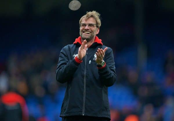 LONDON, ENGLAND - Sunday, March 6, 2016: Liverpool's manager Jürgen Klopp celebrates his side's injury time 2-1 victory over Crystal Palace during the Premier League match at Selhurst Park. (Pic by David Rawcliffe/Propaganda)