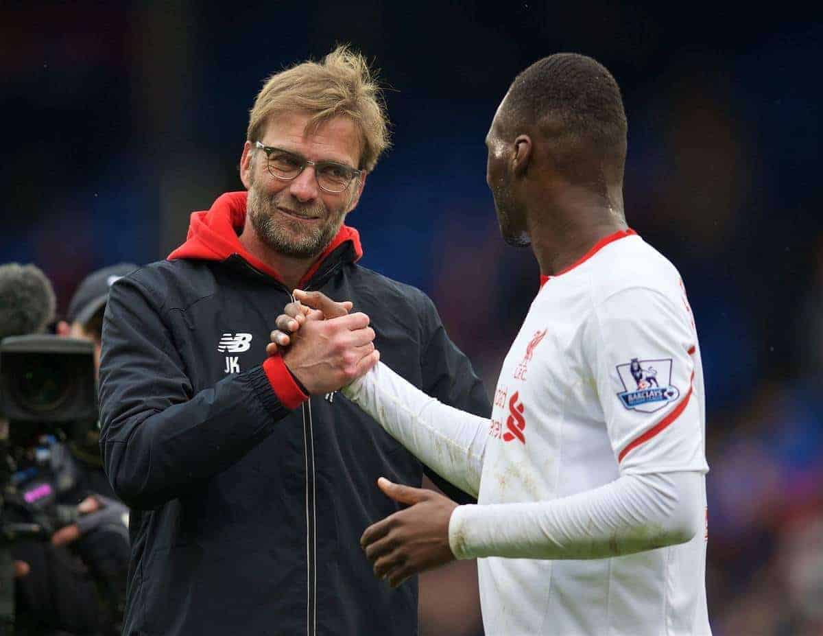 LONDON, ENGLAND - Sunday, March 6, 2016: Liverpool's manager Jürgen Klopp celebrates his side's injury time 2-1 victory over Crystal Palace with match-winning goal-scorer Christian Benteke during the Premier League match at Selhurst Park. (Pic by David Rawcliffe/Propaganda)