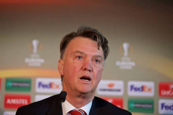 MANCHESTER, ENGLAND - Wednesday, March 9, 2016: Manchester United's manager Louis van Gaal during a press conference ahead of the UEFA Europa League Round of 16 1st Leg match against Liverpool FC. (Pic by David Rawcliffe/Propaganda)