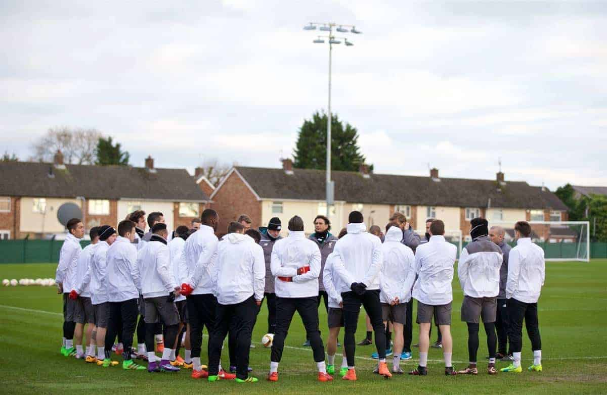 LIVERPOOL, ENGLAND - Wednesday, March 9, 2016: Liverpool players during a training session at Melwood Training Ground ahead of the UEFA Europa League Round of 16 1st Leg match against Manchester United FC. (Pic by David Rawcliffe/Propaganda)