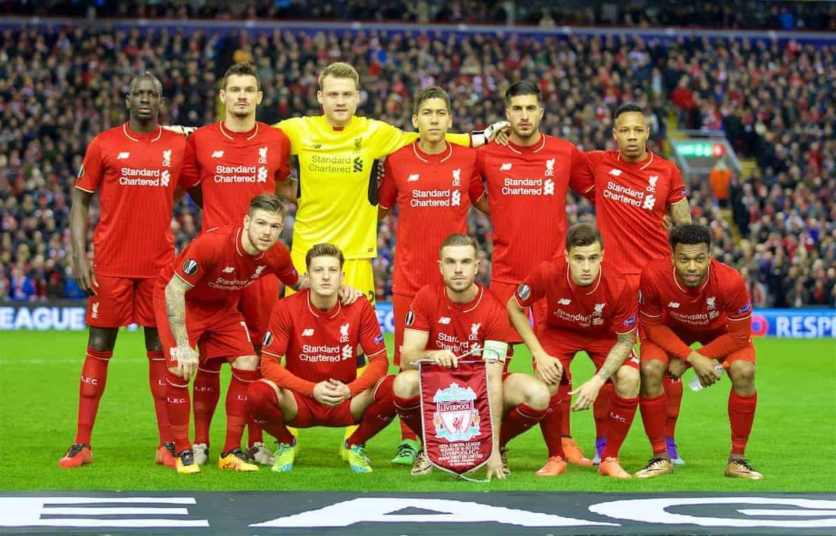 MANCHESTER, ENGLAND - Thursday, March 10, 2016: Liverpool's players line up for a team group photograph before the UEFA Europa League Round of 16 1st Leg match against Manchester United at Anfield. Back row L-R: Mamadou Sakho, Dejan Lovren, goalkeeper Simon Mignolet, Roberto Firmino, Emre Can, Nathaniel Clyne. Front row L-R: Alberto Moreno, Adam Lallana, captain Jordan Henderson, Philippe Coutinho Correia, Daniel Sturridge. (Pic by David Rawcliffe/Propaganda)