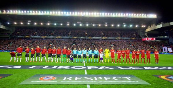 MANCHESTER, ENGLAND - Thursday, March 10, 2016: Liverpool and Manchester United players line-up before the UEFA Europa League Round of 16 1st Leg match against Manchester United at Anfield. (Pic by David Rawcliffe/Propaganda)