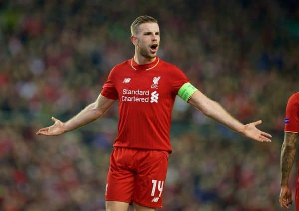 LIVERPOOL, ENGLAND - Thursday, March 10, 2016: Liverpool's captain Jordan Henderson in action against Manchester United during the UEFA Europa League Round of 16 1st Leg match at Anfield. (Pic by David Rawcliffe/Propaganda)