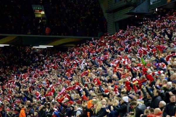 MANCHESTER, ENGLAND - Thursday, March 10, 2016: Liverpool supporters celebrate their side's opening goal against Manchester United during the UEFA Europa League Round of 16 1st Leg match at Anfield. (Pic by David Rawcliffe/Propaganda)