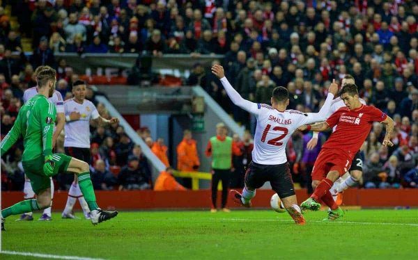 LIVERPOOL, ENGLAND - Thursday, March 10, 2016: Liverpool's Roberto Firmino scores the second goal against Manchester United during the UEFA Europa League Round of 16 1st Leg match at Anfield. (Pic by David Rawcliffe/Propaganda)