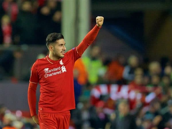 LIVERPOOL, ENGLAND - Thursday, March 10, 2016: Liverpool's Emre Can celebrates after the 2-0 victory over Manchester United during the UEFA Europa League Round of 16 1st Leg match at Anfield. (Pic by David Rawcliffe/Propaganda)