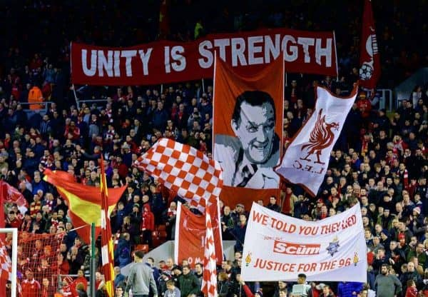 MANCHESTER, ENGLAND - Thursday, March 10, 2016: Liverpool supporters on the Spion Kop before the UEFA Europa League Round of 16 1st Leg match against Manchester United at Anfield. (Pic by David Rawcliffe/Propaganda)