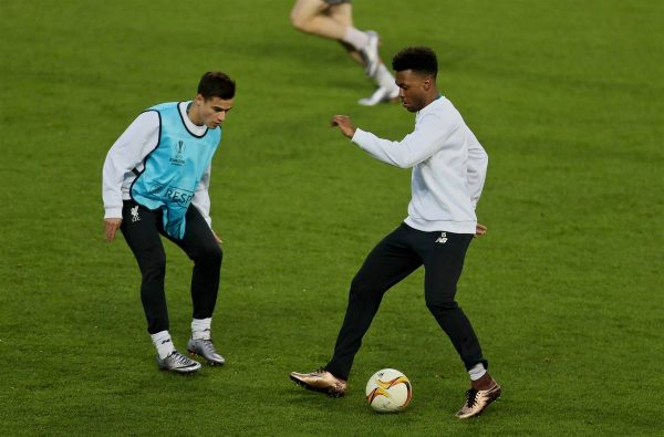 MANCHESTER, ENGLAND - Wednesday, March 16, 2016: Liverpool's Philippe Coutinho Correia and Daniel Sturridge during a training session at Old Trafford ahead of the UEFA Europa League Round of 16 2nd Leg match against Manchester United. (Pic by David Rawcliffe/Propaganda)