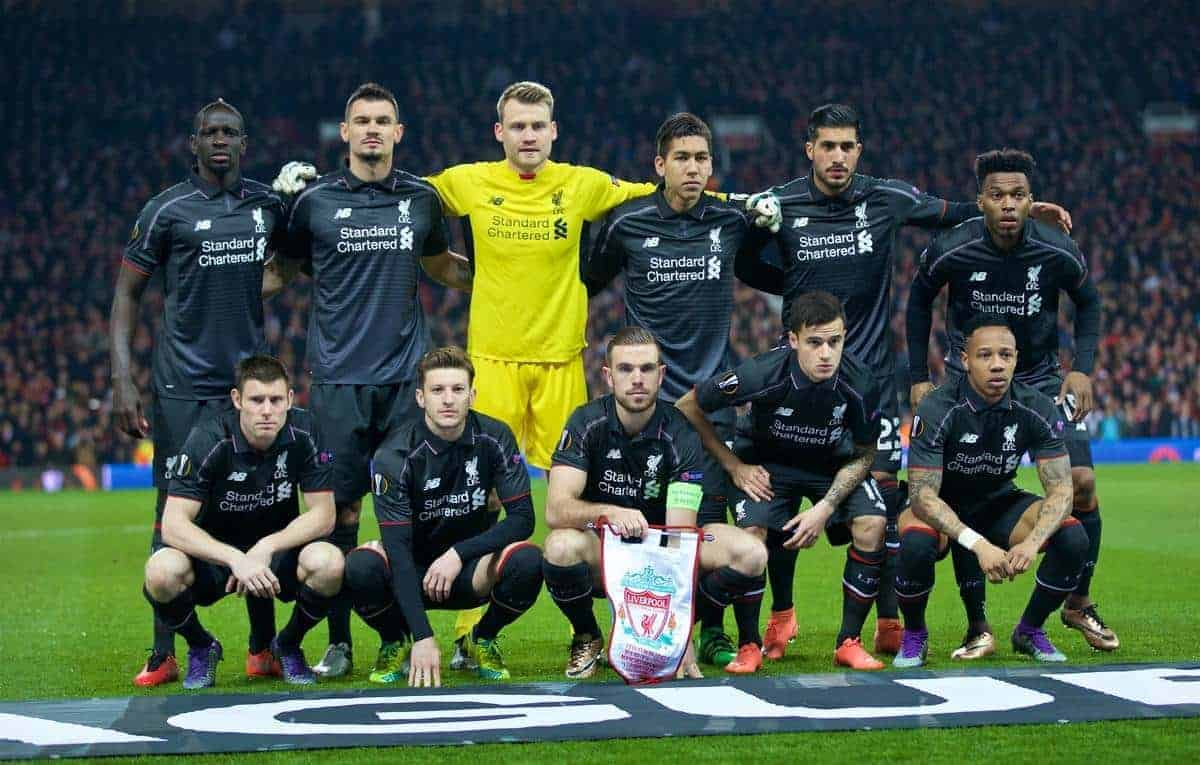 MANCHESTER, ENGLAND - Wednesday, March 16, 2016: Liverpool's players line up for a team group photograph before the UEFA Europa League Round of 16 2nd Leg match against Manchester United at Old Trafford. (Pic by David Rawcliffe/Propaganda)