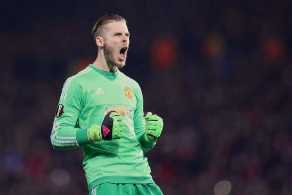 MANCHESTER, ENGLAND - Wednesday, March 16, 2016: Manchester United's goalkeeper David de Gea celebrates the first goal against Liverpool during the UEFA Europa League Round of 16 2nd Leg match at Old Trafford. (Pic by David Rawcliffe/Propaganda)